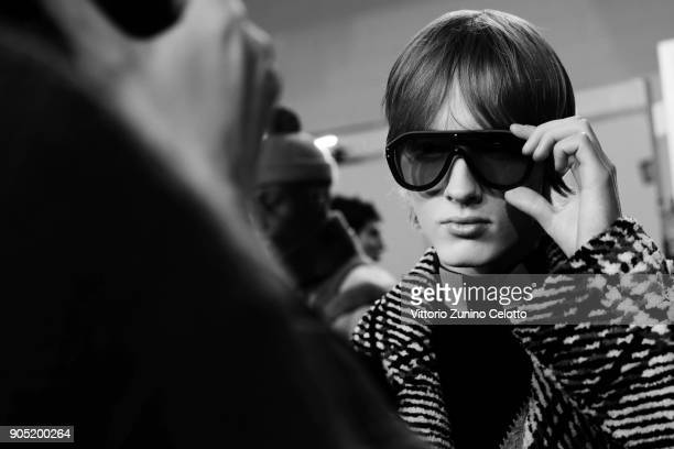 A model is seen backstage ahead of the Fendi show during Milan Men's Fashion Week Fall/Winter 2018/19 on January 15 2018 in Milan Italy