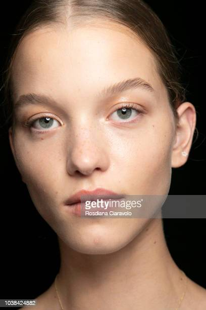 Model is seen backstage ahead of the Fila show during Milan Fashion Week Spring/Summer 2019 on September 23 2018 in Milan Italy