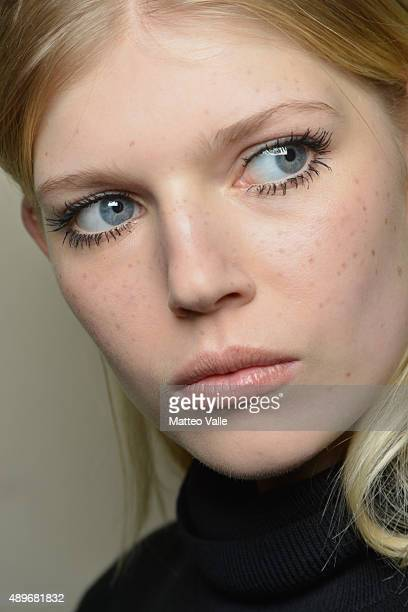 A model is seen backstage ahead of the Francesco Scognamiglio show during Milan Fashion Week Spring/Summer 2016 on September 23 2015 in Milan Italy