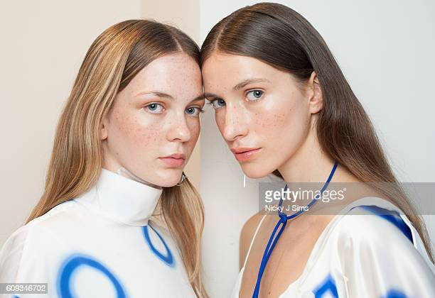 A model is seen backstage ahead of the Fun Affair show at Fashion Scout during London Fashion Week on September 20 2017 in London England