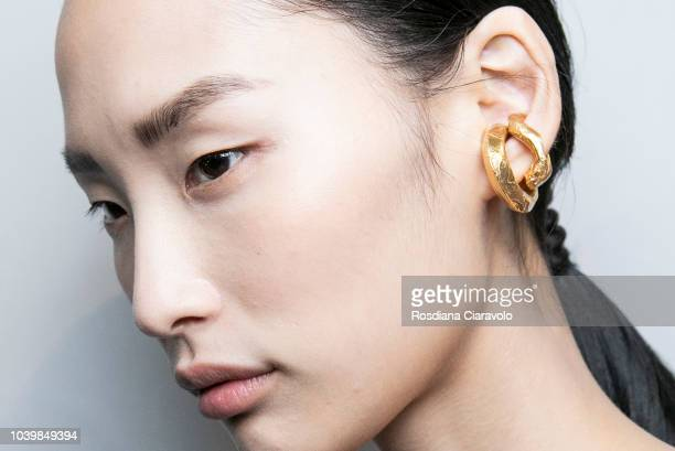 Model is seen backstage ahead of the Gabriele Colangelo show during Milan Fashion Week Spring/Summer 2019 on September 22 2018 in Milan Italy
