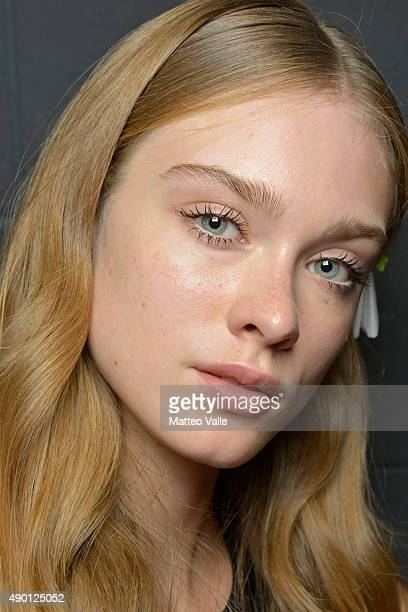 Model is seen backstage ahead of the Gabriele Colangelo show during Milan Fashion Week Spring/Summer 2016 on September 26 2015 in Milan Italy
