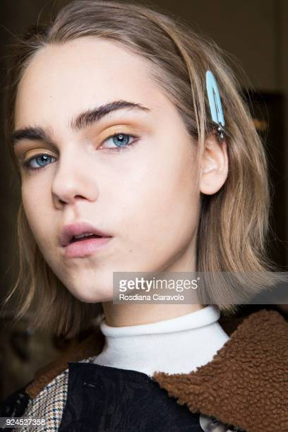 A model is seen backstage ahead of the Gabriele Colangelo show during Milan Fashion Week Fall/Winter 2018/19 on February 24 2018 in Milan Italy