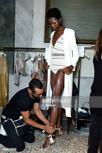 A model is seen backstage ahead of the Genny show during Milan Fashion Week Spring/Summer 2016 on September 23 2015 in Milan Italy