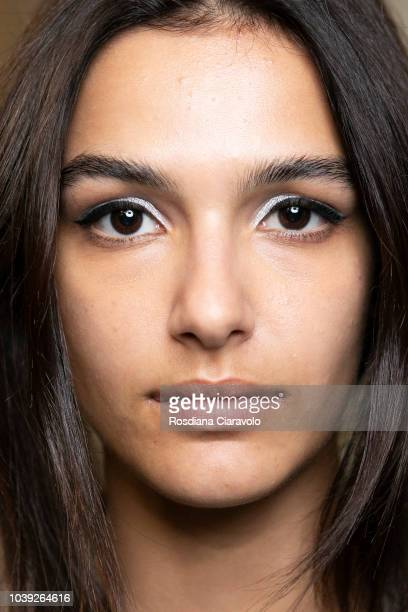 A model is seen backstage ahead of the Iceberg show during Milan Fashion Week Spring/Summer 2019 on September 21 2018 in Milan Italy