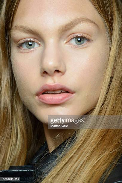 A model is seen backstage ahead of the Iceberg show during Milan Fashion Week Spring/Summer 2016 on September 25 2015 in Milan Italy