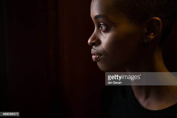A model is seen backstage ahead of the James Kelly show at Fashion Scout during London Fashion Week Spring/Summer 2016 on September 19 2015 in London...