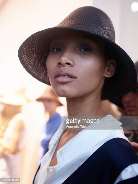Model is seen backstage ahead of the Jil Sander show during Milan Fashion Week Spring/Summer 2016 on September 26, 2015 in Milan, Italy.