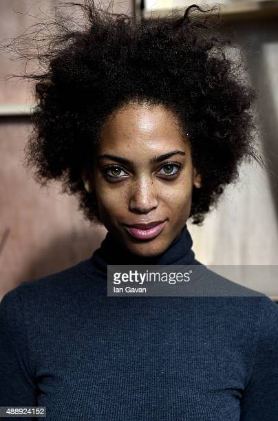 A model is seen backstage ahead of the JJS Lee show during London Fashion Week Spring/Summer 2016 on September 18 2015 in London England