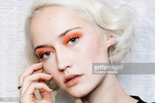 A model is seen backstage ahead of the John Richmond show during Milan Menswear Fashion Week Autumn/Winter 2019/20 on January 13 2019 in Milan Italy