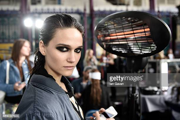 A model is seen backstage ahead of the Julien Macdonald show during London Fashion Week Spring/Summer 2016 on September 19 2015 in London England
