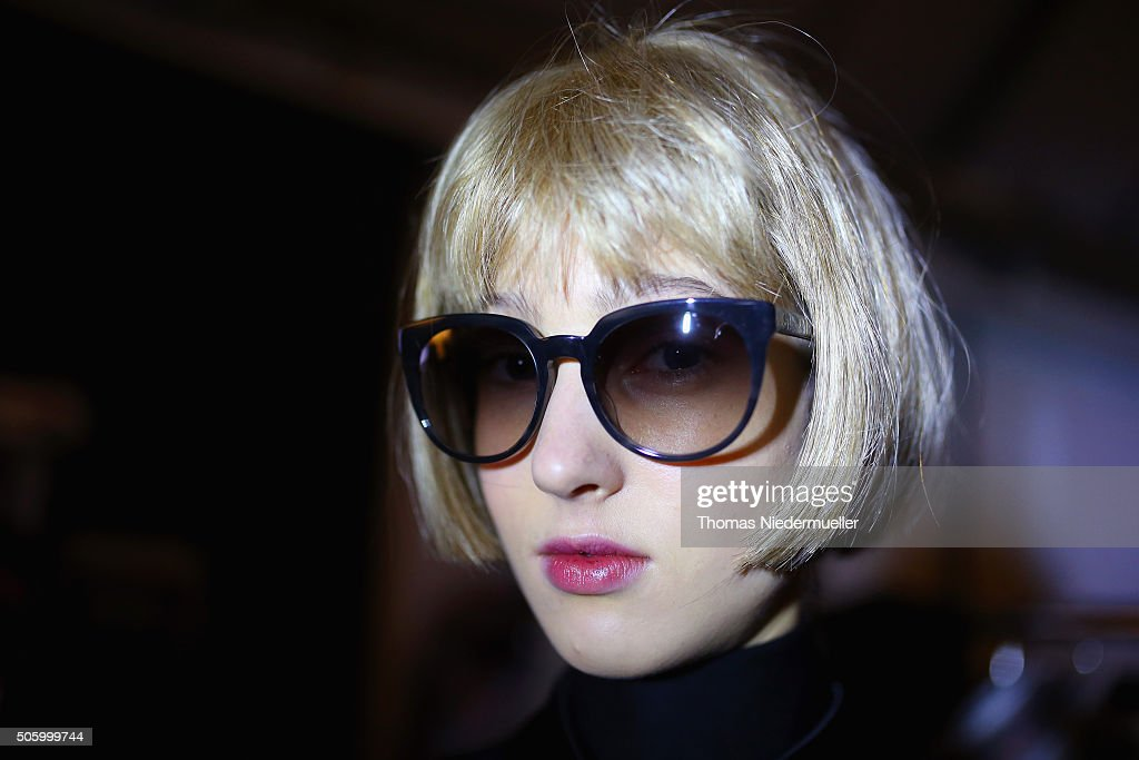A model is seen backstage ahead of the Kilian Kerner show during the Mercedes-Benz Fashion Week Berlin Autumn/Winter 2016 at Ellington Hotel on January 20, 2016 in Berlin, Germany.