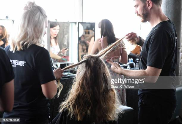 A model is seen backstage ahead of the Lana Mueller show during the MercedesBenz Fashion Week Berlin Spring/Summer 2018 at Weekend on July 6 2017 in...