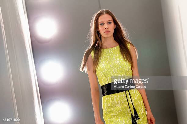 A model is seen backstage ahead of the Laurel show during the MercedesBenz Fashion Week Spring/Summer 2015 at Erika Hess Eisstadion on July 10 2014...