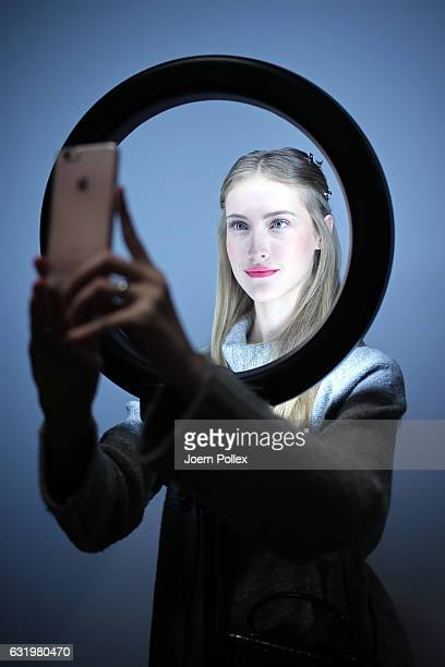 A model is seen backstage ahead of the Laurel show during the MercedesBenz Fashion Week Berlin A/W 2017 at Kaufhaus Jandorf on January 18 2017 in...
