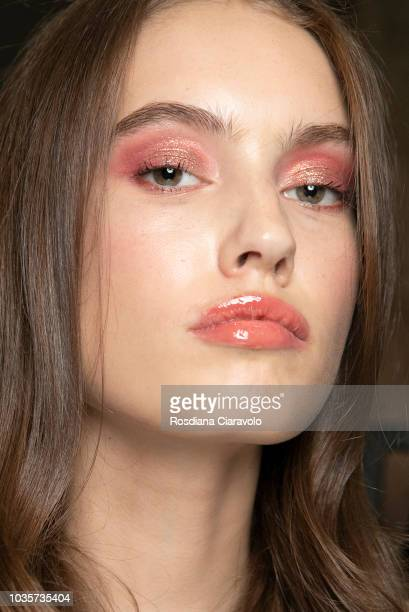A model is seen backstage ahead of the Luisa Spagnoli show during Milan Fashion Week Spring/Summer 2019 on September 18 2018 in Milan Italy