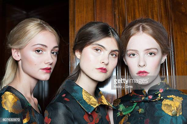 A model is seen backstage ahead of the Malan Breton show at Fashion Scout during London Fashion Week on September 18 2016 in London England