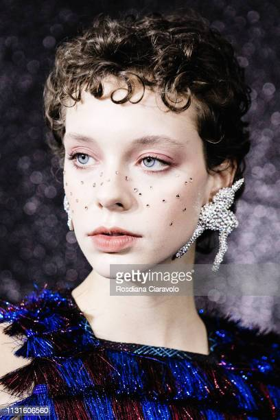 A model is seen backstage ahead of the Marco De Vincenzo show at Milan Fashion Week Autumn/Winter 2019/20 on February 22 2019 in Milan Italy