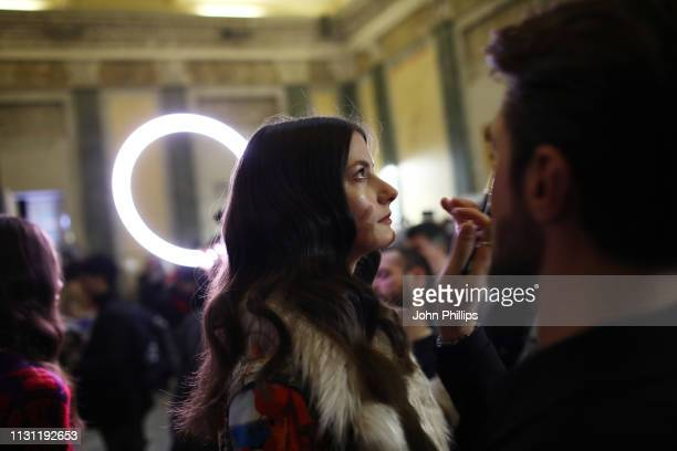 A model is seen backstage ahead of the Marco Rambaldi Supported By CNMI e CNMI Fashion Trust show at Milan Fashion Week Autumn/Winter 2019/20 on...
