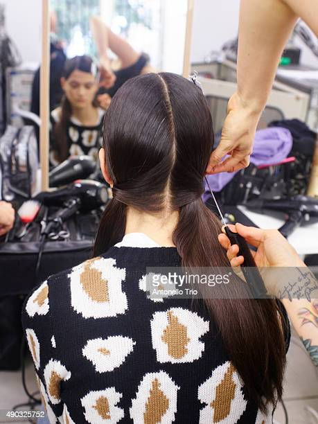 Model is seen backstage ahead of the Marni show during Milan Fashion Week Spring/Summer 2016 on September 27 2015 in Milan Italy