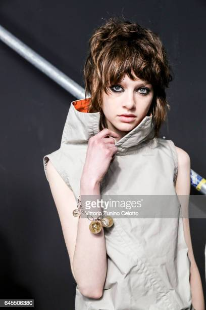 A model is seen backstage ahead of the Marni show during Milan Fashion Week Fall/Winter 2017/18 on February 26 2017 in Milan Italy