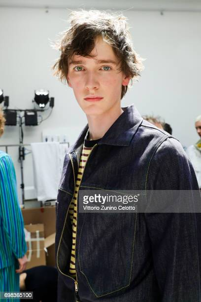 Model is seen backstage ahead of the Marni show during Milan Men's Fashion Week Spring/Summer 2018on June 17 2017 in Milan Italy