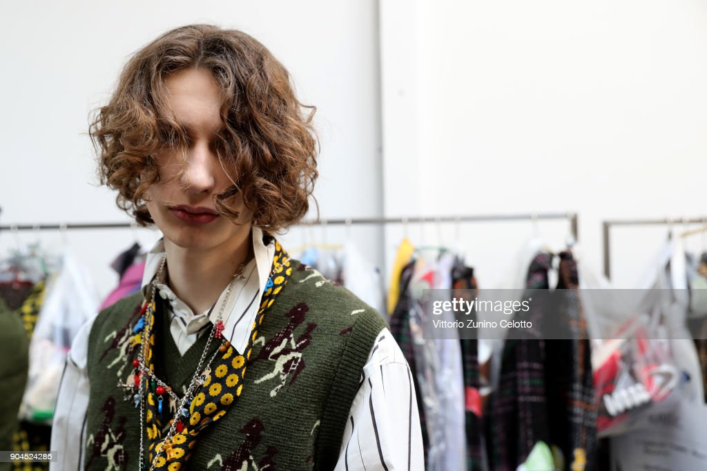 A model is seen backstage ahead of the Marni show during Milan Men's Fashion Week Fall/Winter 2018/19 on January 13, 2018 in Milan, Italy.