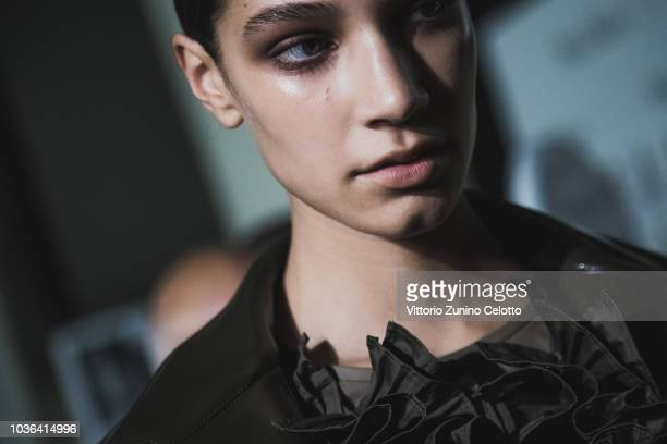 A model is seen backstage ahead of the Max Mara show during Milan Fashion Week Spring/Summer 2019 on September 20 2018 in Milan Italy