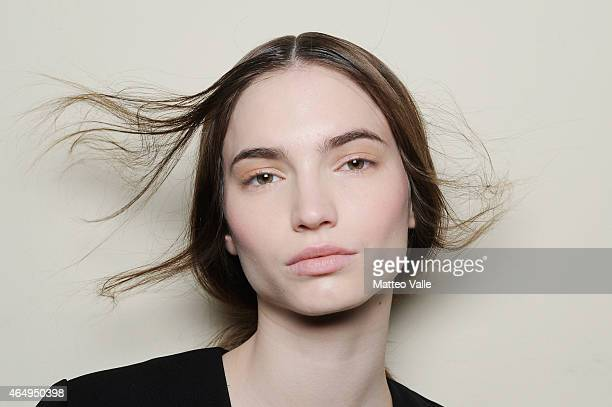 A model is seen backstage ahead of the Mila Schoen show during the Milan Fashion Week Autumn/Winter 2015 on March 2 2015 in Milan Italy