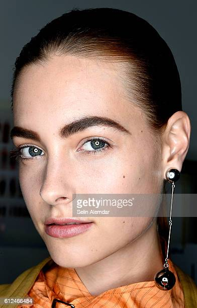 A model is seen backstage ahead of the Mila Schon show during Milan Fashion Week Spring/Summer 2017 on September 26 2016 in Milan Italy
