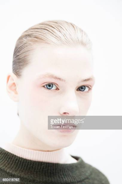 A model is seen backstage ahead of the Mila Schon show during Milan Fashion Week Fall/Winter 2017/18 on February 27 2017 in Milan Italy
