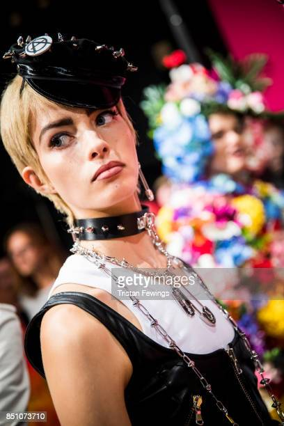 Model is seen backstage ahead of the Moschino show during Milan Fashion Week Spring/Summer 2018 on September 21 2017 in Milan Italy