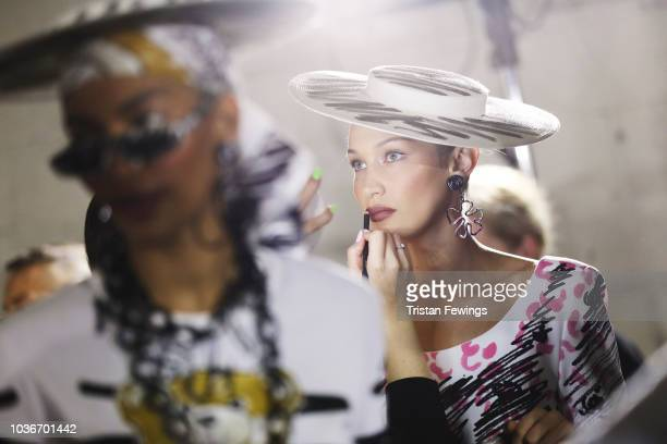 A model is seen backstage ahead of the Moschino show on September 20 2018 in Milan Italy