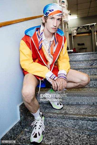A model is seen backstage ahead of the MSGM show during Milan Men's Fashion Week Spring/Summer 2019 on June 17 2018 in Milan Italy