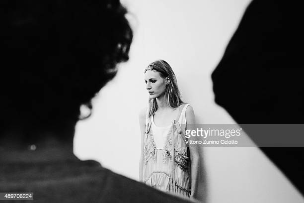 Model is seen backstage ahead of the N.21 show during Milan Fashion Week Spring/Summer 2016 on September 23, 2015 in Milan, Italy.