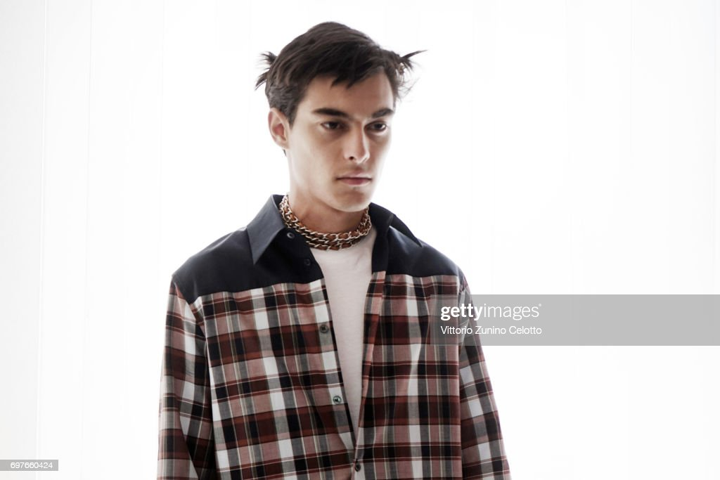 A model is seen backstage ahead of the N.21 show during Milan Men's Fashion Week Spring/Summer 2018on June 19, 2017 in Milan, Italy.