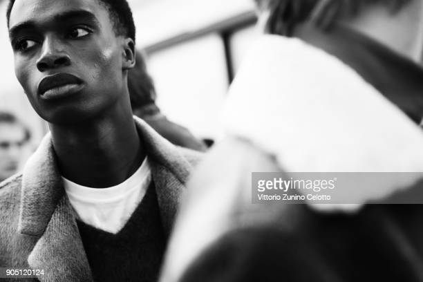 A model is seen backstage ahead of the N21 show during Milan Men's Fashion Week Fall/Winter 2018/19 on January 15 2018 in Milan Italy