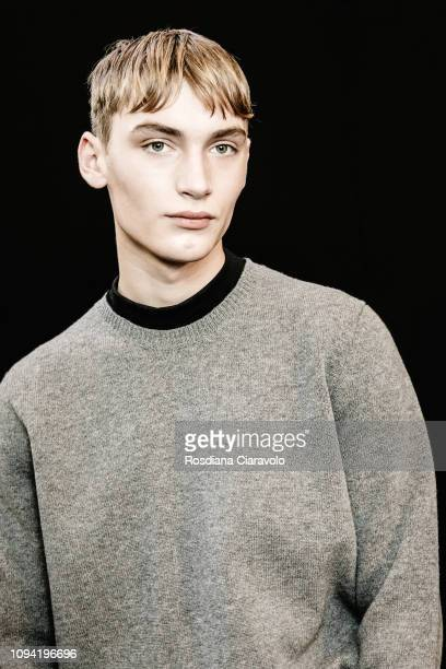 A model is seen backstage ahead of the N21 show during Milan Menswear Fashion Week Autumn/Winter 2019/20 on January 14 2019 in Milan Italy