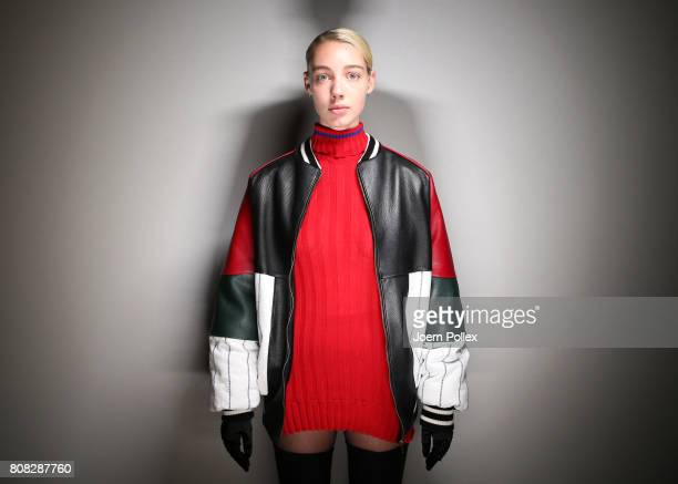 A model is seen backstage ahead of the Nathini van der Meer show during the MercedesBenz Fashion Week Berlin Spring/Summer 2018 at Kaufhaus Jandorf...