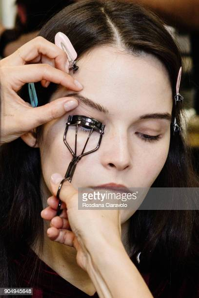 A model is seen backstage ahead of the Neil Barrett show during Milan Men's Fashion Week Fall/Winter 2018/19 on January 13 2018 in Milan Italy