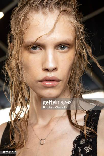 Model is seen backstage ahead of the Palm Angels show during Milan Men's Fashion Week Spring/Summer 2019 on June 17 2018 in Milan Italy