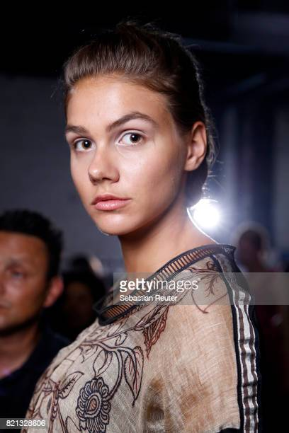 A model is seen backstage ahead of the PF Selected show during Platform Fashion July 2017 at Areal Boehler on July 23 2017 in Duesseldorf Germany