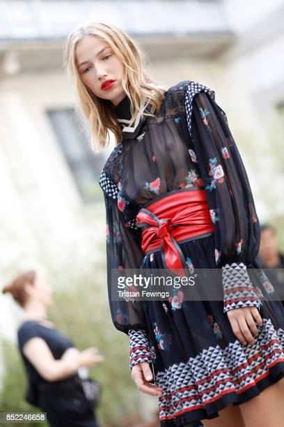 A model is seen backstage ahead of the Philosophy By Lorenzo Serafini show during Milan Fashion Week Spring/Summer 2018on September 23 2017 in Milan...