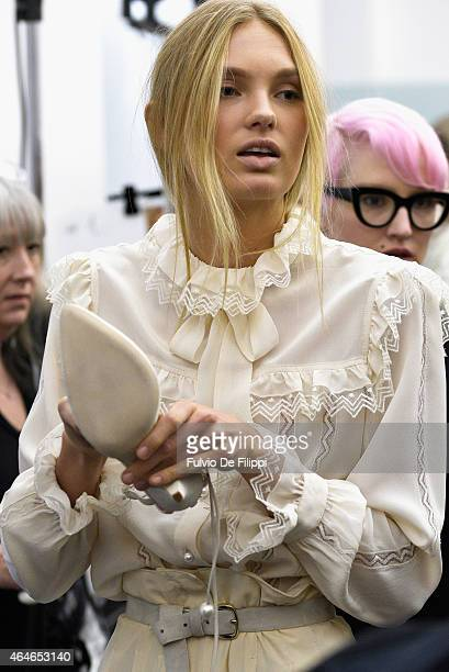 A model is seen backstage ahead of the Philosophy Di Lorenzo Serafini show during the Milan Fashion Week Autumn/Winter 2015 on February 27 2015 in...