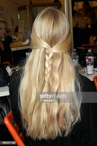 Model is seen backstage ahead of the Philosophy di Lorenzo Serafini show during Milan Fashion Week Spring/Summer 2016 on September 25 2015 in Milan...