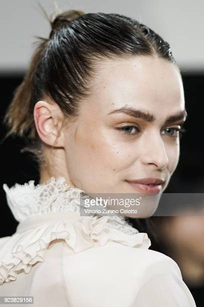 A model is seen backstage ahead of the Philosophy Di Lorenzo Serafini show during Milan Fashion Week Fall/Winter 2018/19 on February 24 2018 in Milan...