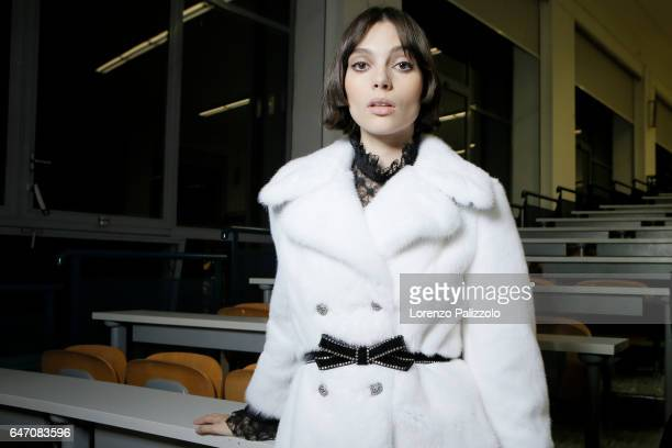 A model is seen backstage ahead of the Philosphy Di Lorenzo Serafini show during Milan Fashion Week Fall/Winter 2017/18 on February 25 2017 in Milan...