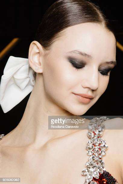 A model is seen backstage ahead of the PiccionePiccione show during Milan Fashion Week Fall/Winter 2018/19 on February 25 2018 in Milan Italy