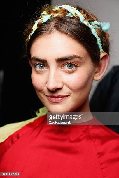 A model is seen backstage ahead of the Piroshka show during the MercedesBenz Fashion Week Berlin Spring/Summer 2016 at Stage at me Collectors Room on...