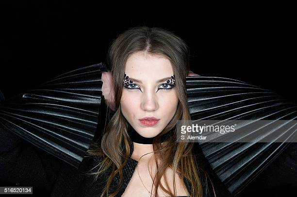 A model is seen backstage ahead of the Raisa Vanessa Sason show during the MercedesBenz Fashion Week Istanbul Autumn/Winter 2016 on March 18 2016 in...